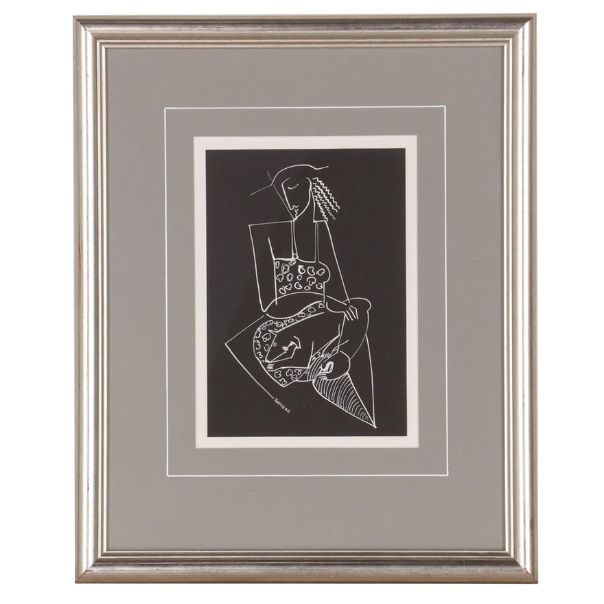 """Yuri Yuroz Ink Drawing """"The Pet,"""" 1988"""