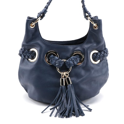 MICHAEL Michael Kors Navy Leather Shoulder Bag with Braided Strap and Tassels