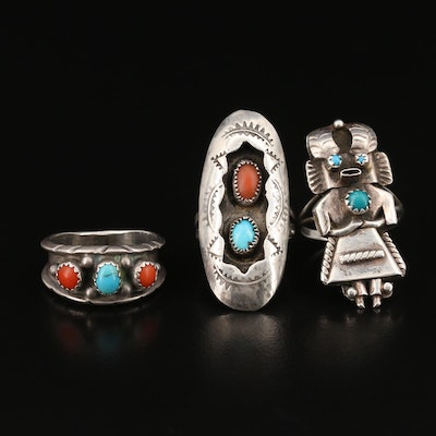 Sterling Turquoise Rings Featuring Orville Manygoat, Navajo Diné Kachina Ring