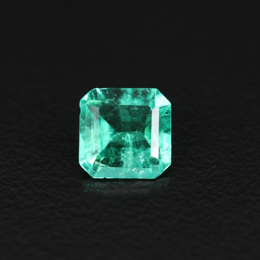 Loose 1.13 CTW Cut Corner Square Faceted Emerald