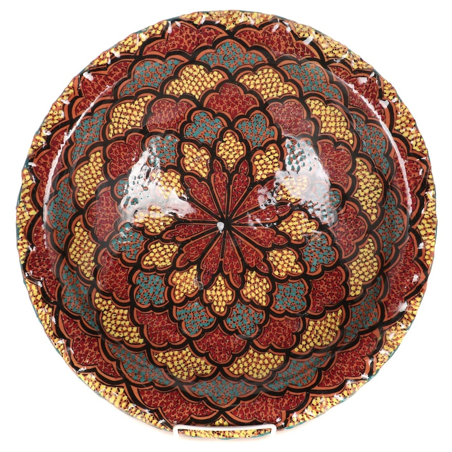 Moroccan Hand-Painted  Terracotta Couscous Bowl, Mid-Late 20th Century