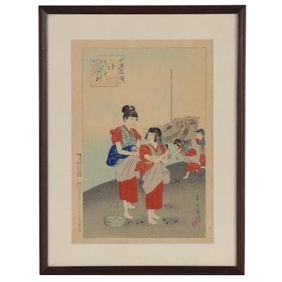 "Miyagawa Shuntei Ukiyo-e Woodblock ""Shiohi-gari,"" 1896"