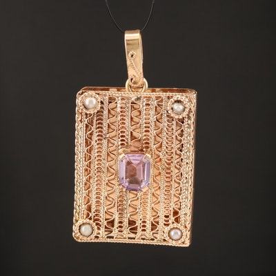 14K Rose Gold Amethyst and Seed Pearl Openwork Locket Pendant