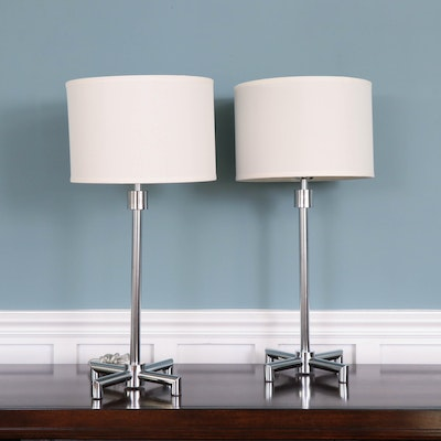 Modern Chrome Table Lamps with Fabric Drum Shades