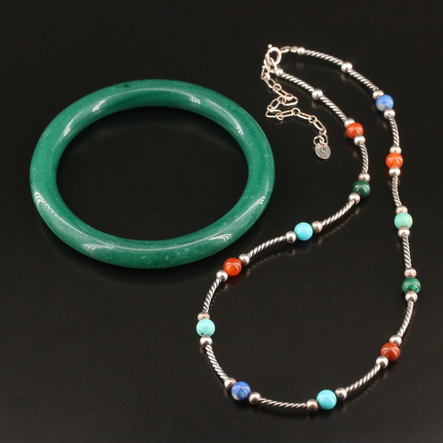 Carolyn Pollack for Relios Gemstone Station Necklace with Hololith Bangle