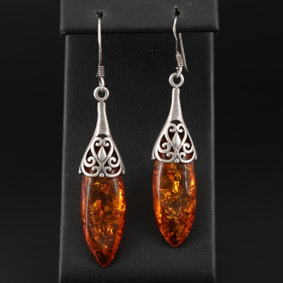 Sterling Silver Amber Drop Earrings