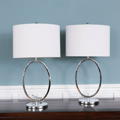 Contemporary Chrome Table Lamps with Fabric Shades