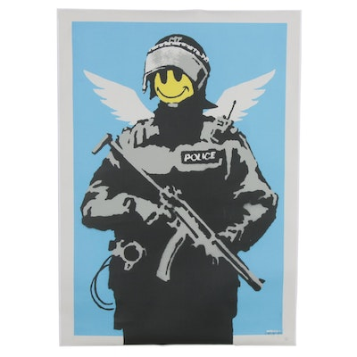 "Giclée after Banksy ""Flying Copper,"" 21st Century"