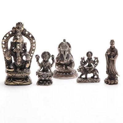 Hindu Deities, Durga, Ganesh Lakshmi, and Buddha Metal Figurals, 20th Century