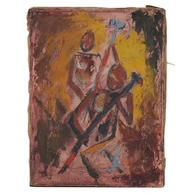 Abstract Figural Oil Painting, Early to Mid-20th Century