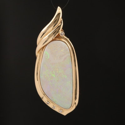 14K Freeform Opal and Diamond Enhancer Pendant