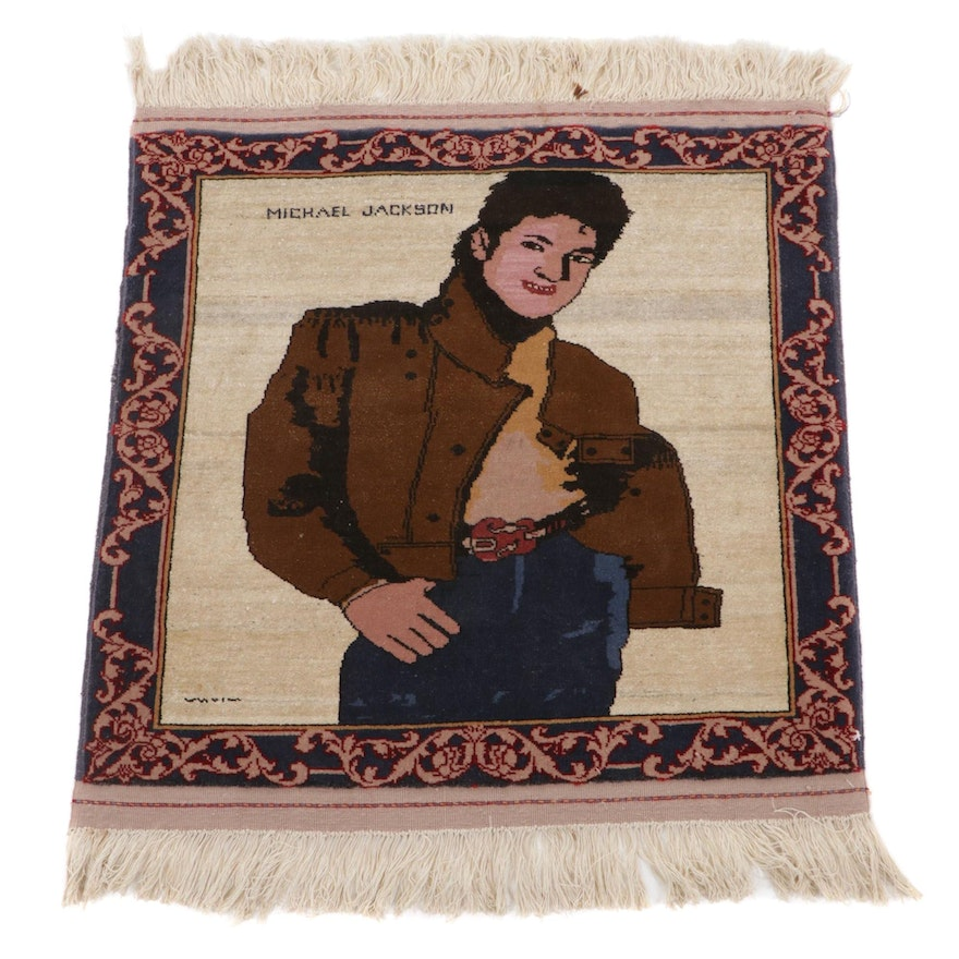 """2'4 x 2'11 Hand-Knotted Afghan """"Michael Jackson"""" Pictorial Accent Rug"""