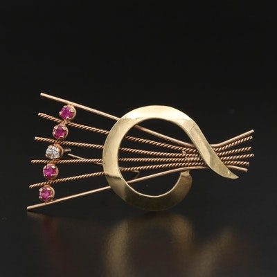 Vintage Czechoslovakian 14K Ruby and White Sapphire Brooch