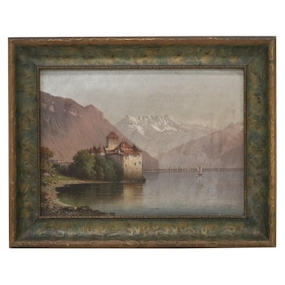 Landscape Oil Painting after Hubert Sattler of Chillon Castle