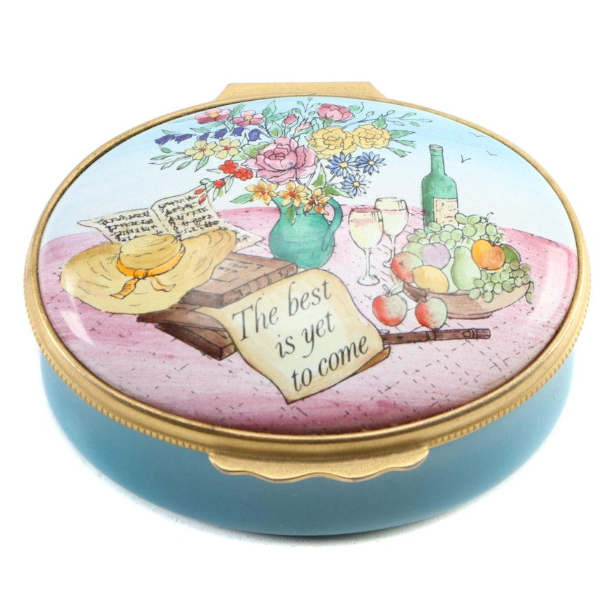 "Halcyon Days ""The Best is Yet to Come"" Enameled Oval Pill Box"