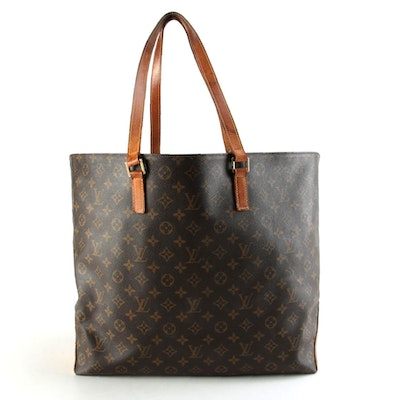 Louis Vuitton Cabas Mezzo Tote Bag in Monogram Canvas with Leather Trim