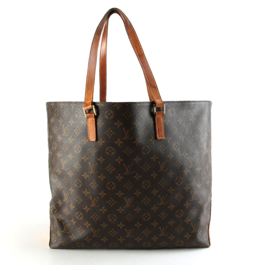 Louis Vuitton Cabas Mezzo Tote Bag in Monogram Canvas with Leather Trim