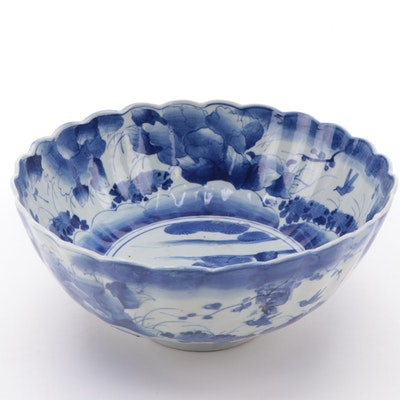 Japanese Blue and White Ceramic Scalloped Centerpiece Bowl, Antique