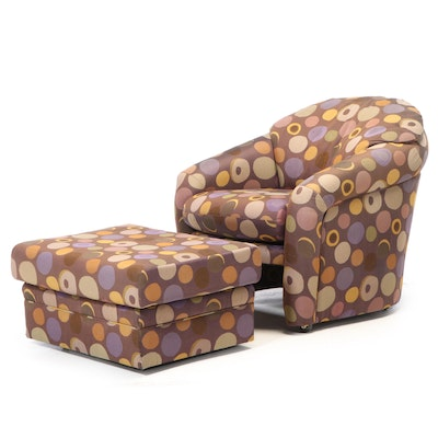 Preview Furniture Modernist Geometric-Upholstered Club Chair and Ottoman