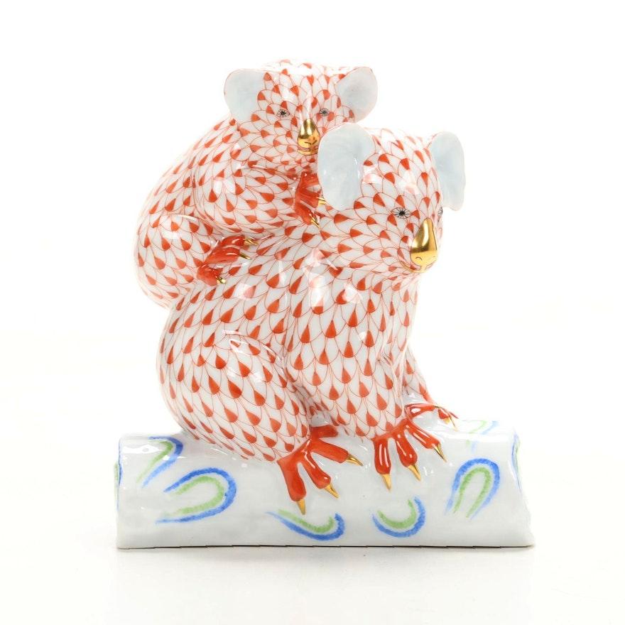 """Herend Rust Fishnet """"Koala Bears"""" Porcelain Figurine"""