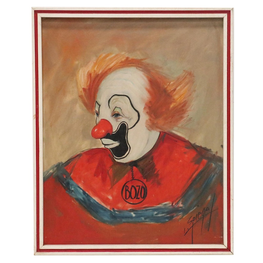 Louis Spiegel Oil Painting of Bozo the Clown, Mid-20th Century