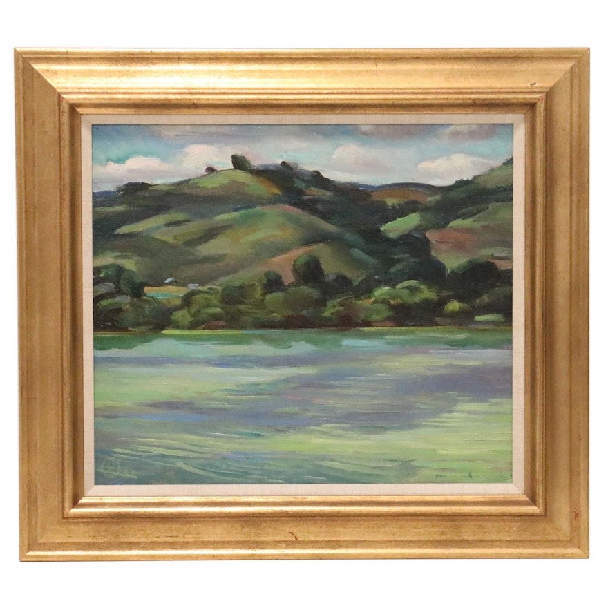 Carl Zimmerman Landscape Oil Painting, Late 20th Century