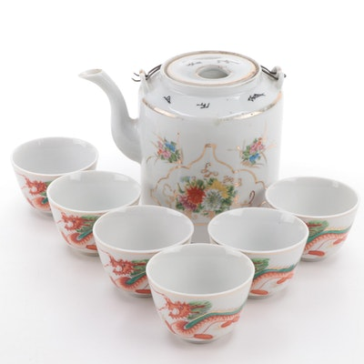 Chinese Floral Porcelain Teapot with Teacups with Dragon Motif