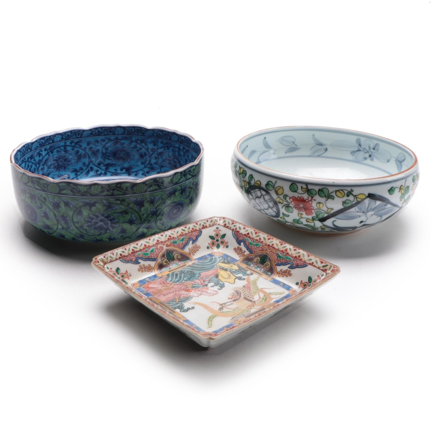 Japanese Floral and Dragon Motif Porcelain Bowls and Dishes, Mid to Late 20th C.