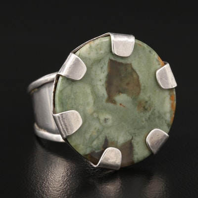 Sterling Silver Agate Open Shank Ring