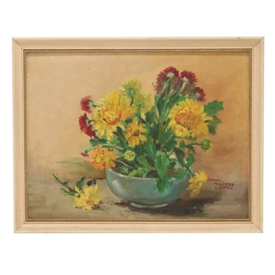 Mildred Chaffin Floral Still Life Oil Painting, Late 20th Century