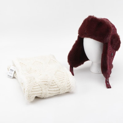 INC International Concepts Infinity Scarf and Faux Fur Ushanka Style Hat