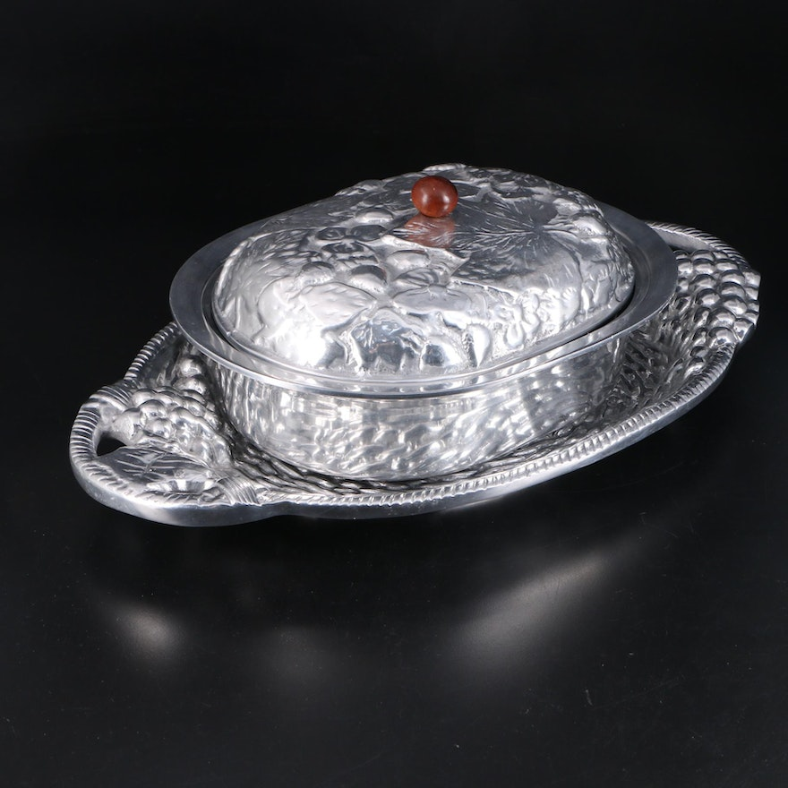 Cast Aluminum Fruit and Foliate Motif Serving Tray and Covered Serving Dish