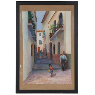 Joan Fistick European Alleyway Watercolor Painting
