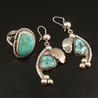 Western Style Sterling Silver Turquoise Earrings and Ring