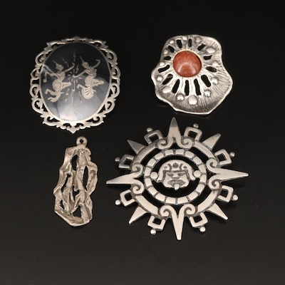 Sterling Brooches and Pendant Including Thai Neillo Enamel and Agate