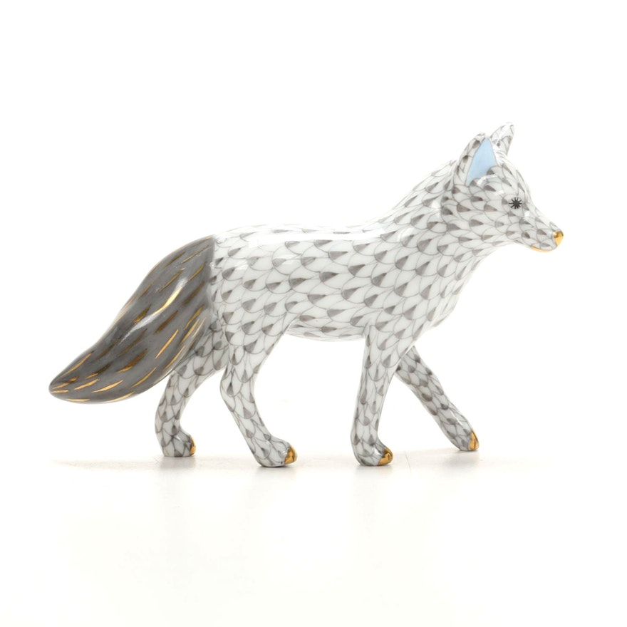 "Herend Grey Fishnet with Gold ""Fox"" Porcelain Figurine"