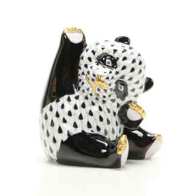 "Herend Black Fishnet with Gold ""Playful Panda"" Porcelain Figurine"