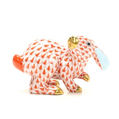 "Herend Rust Fishnet with Gold ""Rabbit"" Porcelain Figurine"