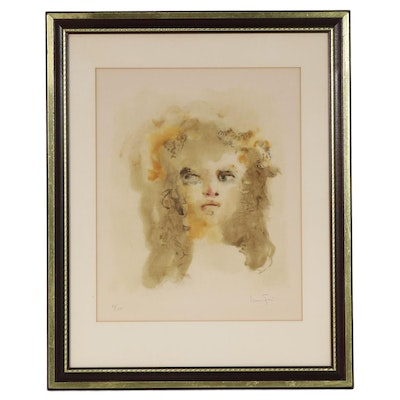 Leonor Fini Portrait Color Lithograph of Young Girl, Mid-Late 20th Century