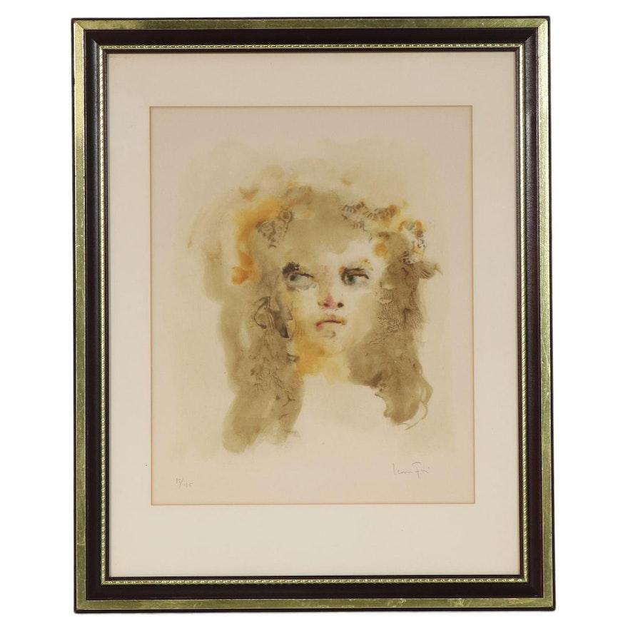 Leonor Fini Portrait Color Lithograph of Young Girl, Mid-Late 20th Century