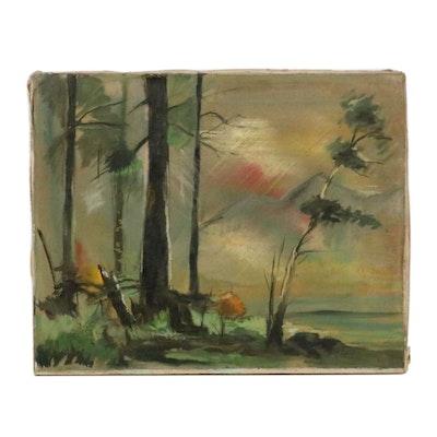 Louis Spiegel Landscape Oil Painting of Shoreline, Early 20th Century