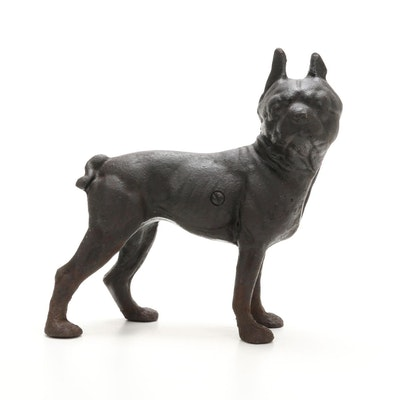 Cast Iron Boston Terrier Coin Bank, Mid-20th Century