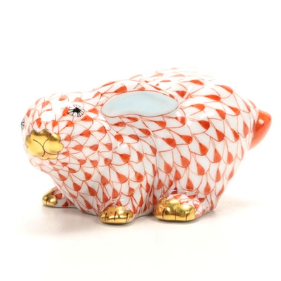 """Herend Rust Fishnet with Gold """"Rabbit"""" Porcelain Figurine"""