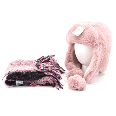 INC International Concepts Pink Faux Fur Trapper Hat and Striped Knit Scarf