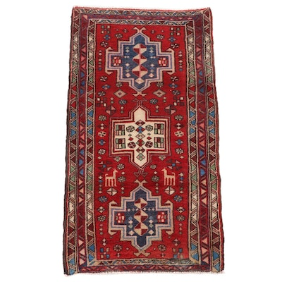 2'2 x 4'1 Hand-Knotted Turkish Village Wool Accent Rug