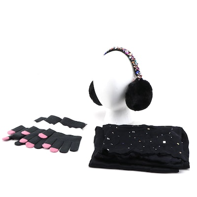Betsey Johnson Embellished Earmuff with INC Scarf and Gloves