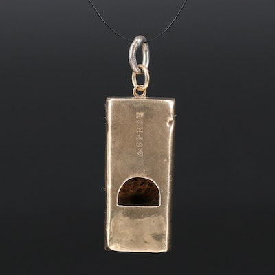 Antique Asprey 9K Whistle Pendant with Sterling Bail