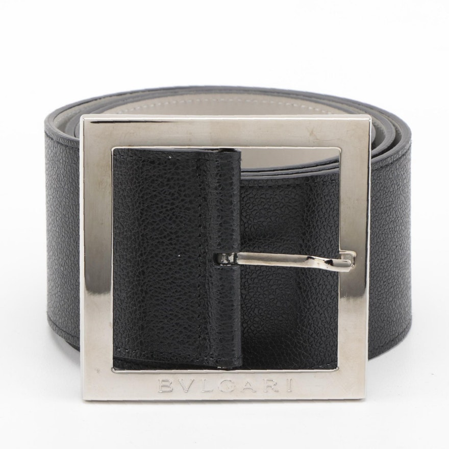 Bvlgari Wide Black Grained Leather Belt with Box