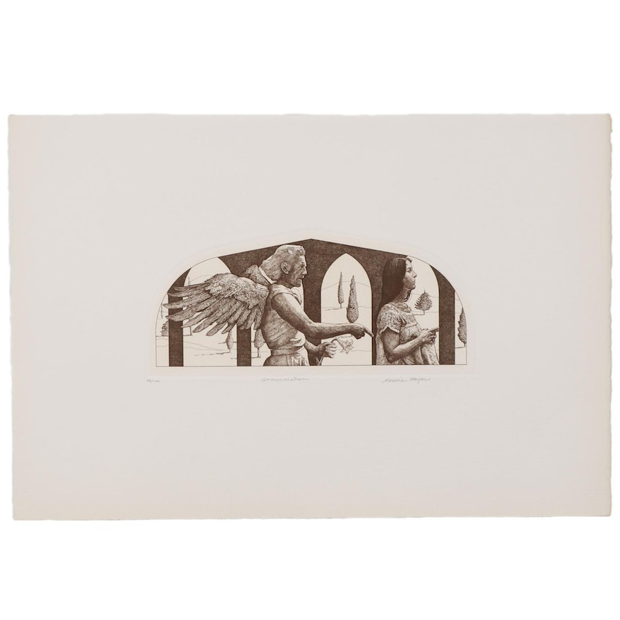 "Marvin Hayes Biblical Copperplate Etching ""Annunciation,"" 1976"