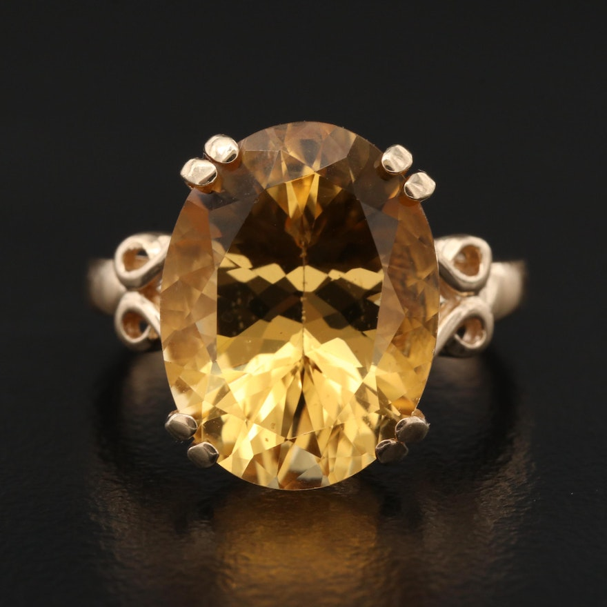 10K 7.90 CT Citrine Solitaire Ring